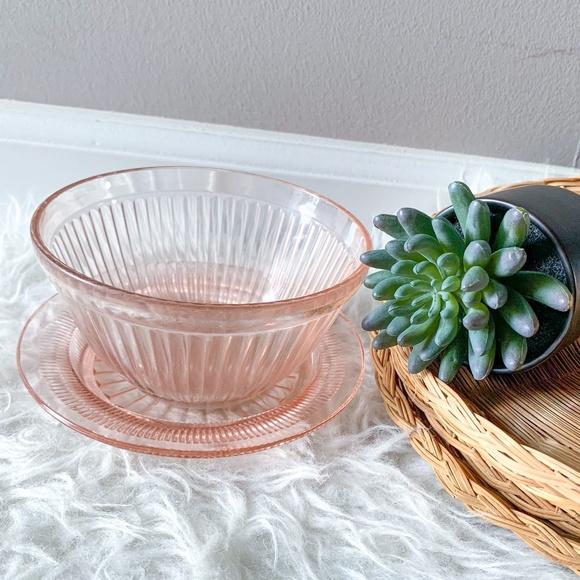Vintage Pink Depression Glass Bowl and Plate Set